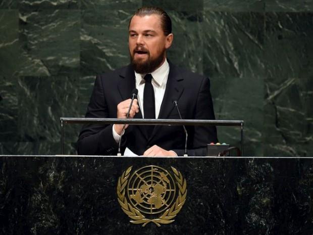 O actor durante o discurso da abertura da Cimeira do Clima, em Nova Iorque