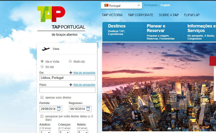Site de companhia aérea: TAP
