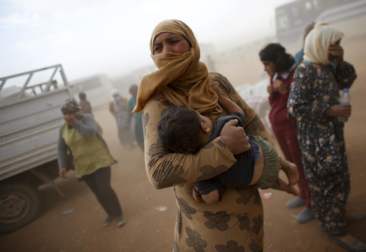 Refugiados na fronteira entre a Turquia e a Síria