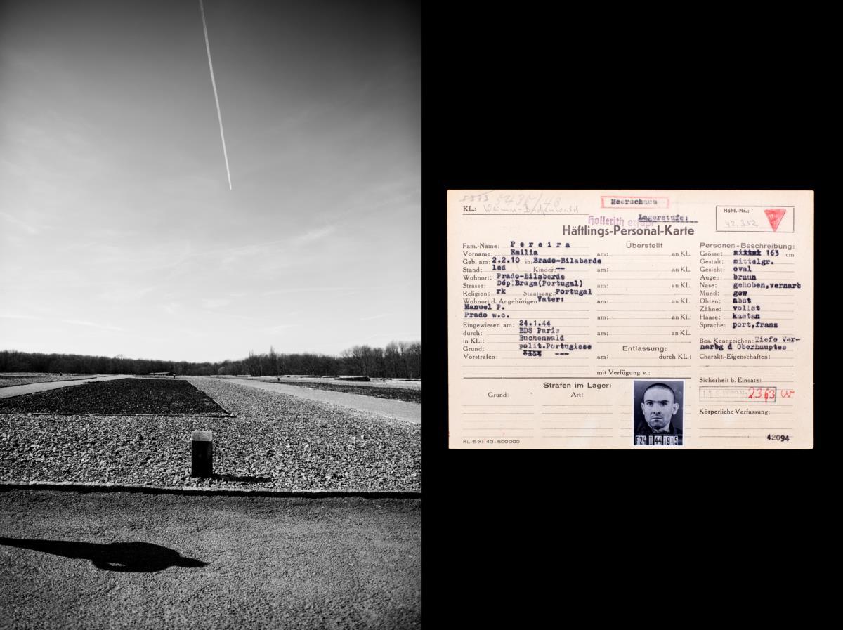 Prisioneiros portugueses em campos de concentração nazis durante a II Guerra Mundial (1939-45) - Díptico, campo de concentração de Buchenwald (e) e documentacao de Emílio Pereira (d) Alemanha, Weimar, Ettersberg