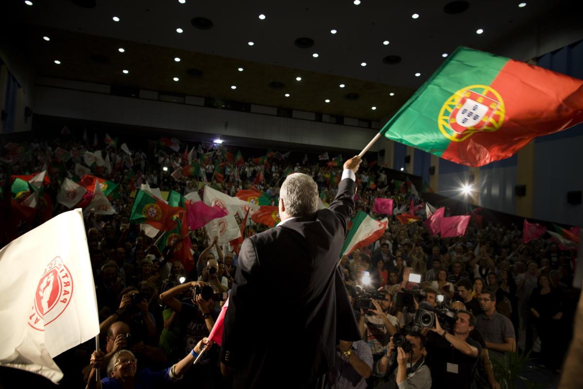 António Costa, candidato vencedor das eleições primárias do Partido Socialista, festeja a vitória no Fórum Lisboa. Lisboa, 28 de Setembro de 2014