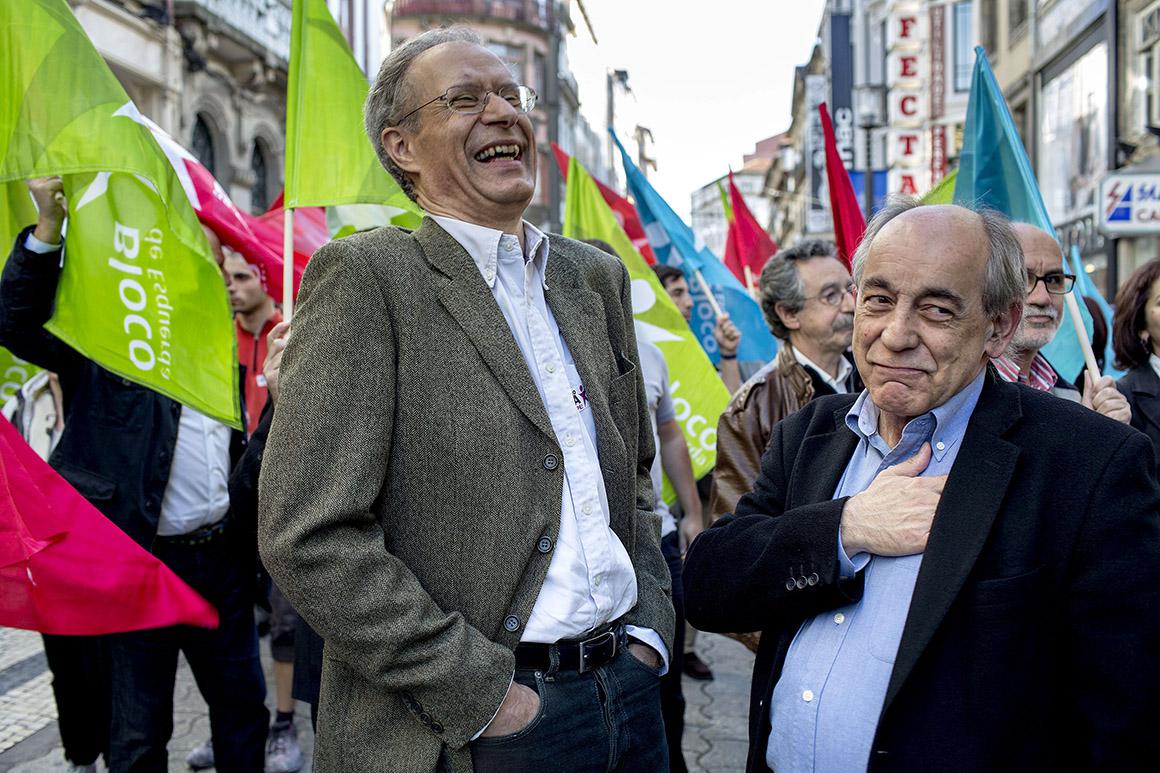 Francisco Louçã e João Semedo do Bloco de Esquerda em campanha eleitoral para as eleições europeias