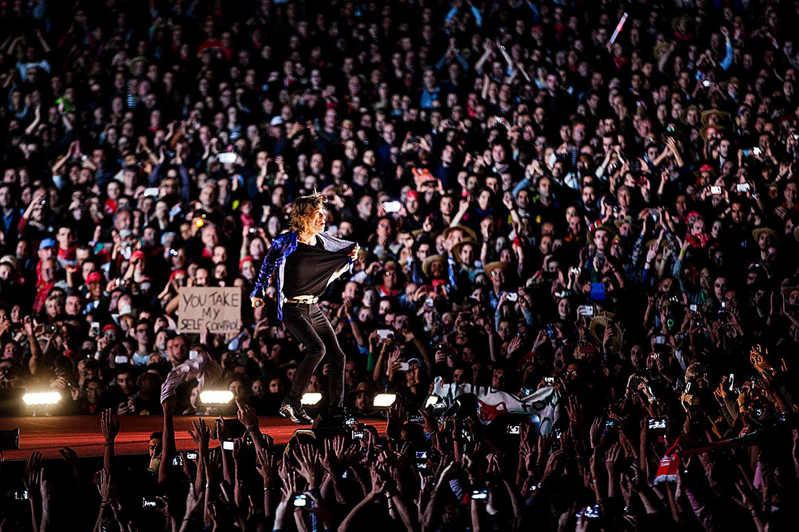Mick Jagger no concerto dos Rolling Stones, cabeças de cartaz do Rock in Rio de 2014