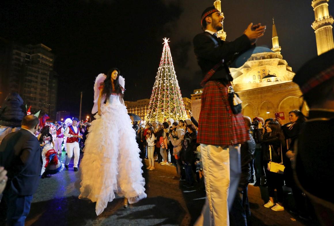 Líbano, Beirute, festa para celebrar a iluminação da árvore de Natal