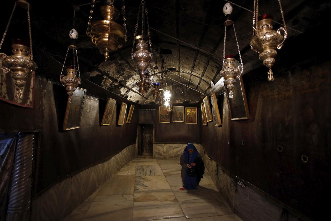 Cisjordânia, Belém. Grotto, o local em que os cristãos acreditam ter nascido Jesus, Igreja da Natividade.