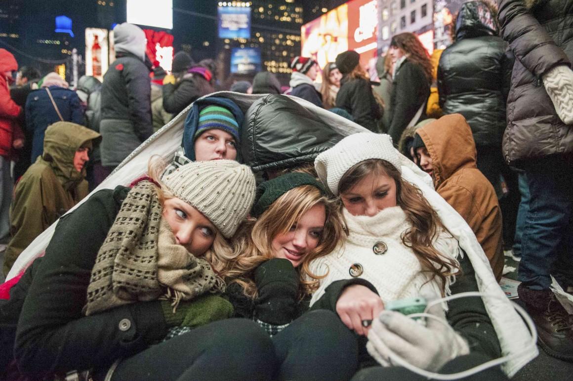 Esteve frio, muito frio, em Times Square, Nova Iorque, EUA