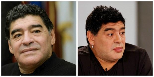 À esquerda, Diego Maradona numa conferência de imprensa, em Fevereiro de 2014. À direita, no programa de televisão De Zurda, no dia 1 de Março