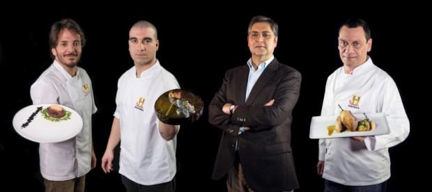 Os chefs Kiko Martins e Pedro Almeida, o crítico Duarte Calvão e o chef Miguel de Castro e Silva