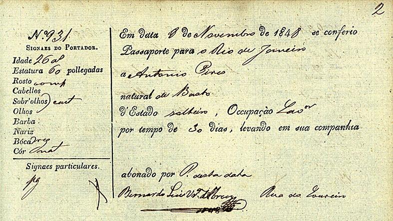 Passaporte abonado por Bernardo Abreu em 1848