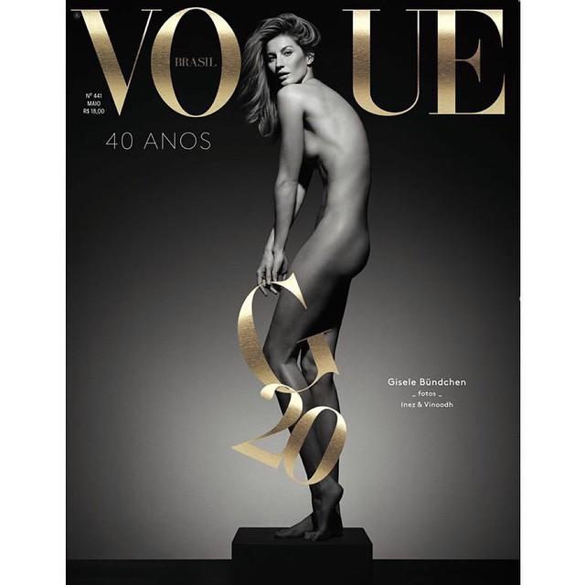 Gisele está nua na capa da Vogue Brasil