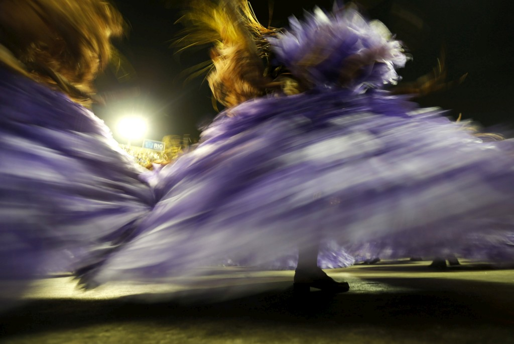 Unidos da Tijuca durante o desfile de Carnaval, Rio de Janeiro