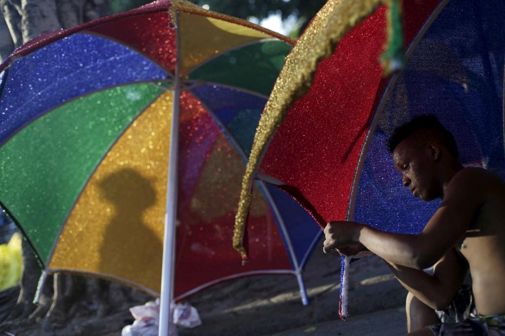 Preparativos para o desfile no Sambódromo, Rio de Janeiro