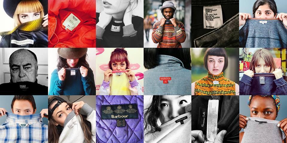 Entre 18 a 24 de Abril, a Fashion Revolution desafia consumidores a tirar uma selfie com a etiqueta da roupa e envia-la à marca com a pergunta (e hashtag) #whomademyclothes?