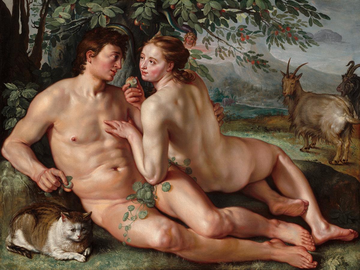 Adão e Eva imaginados por Hendrick Goltzius (National Gallery of Art)