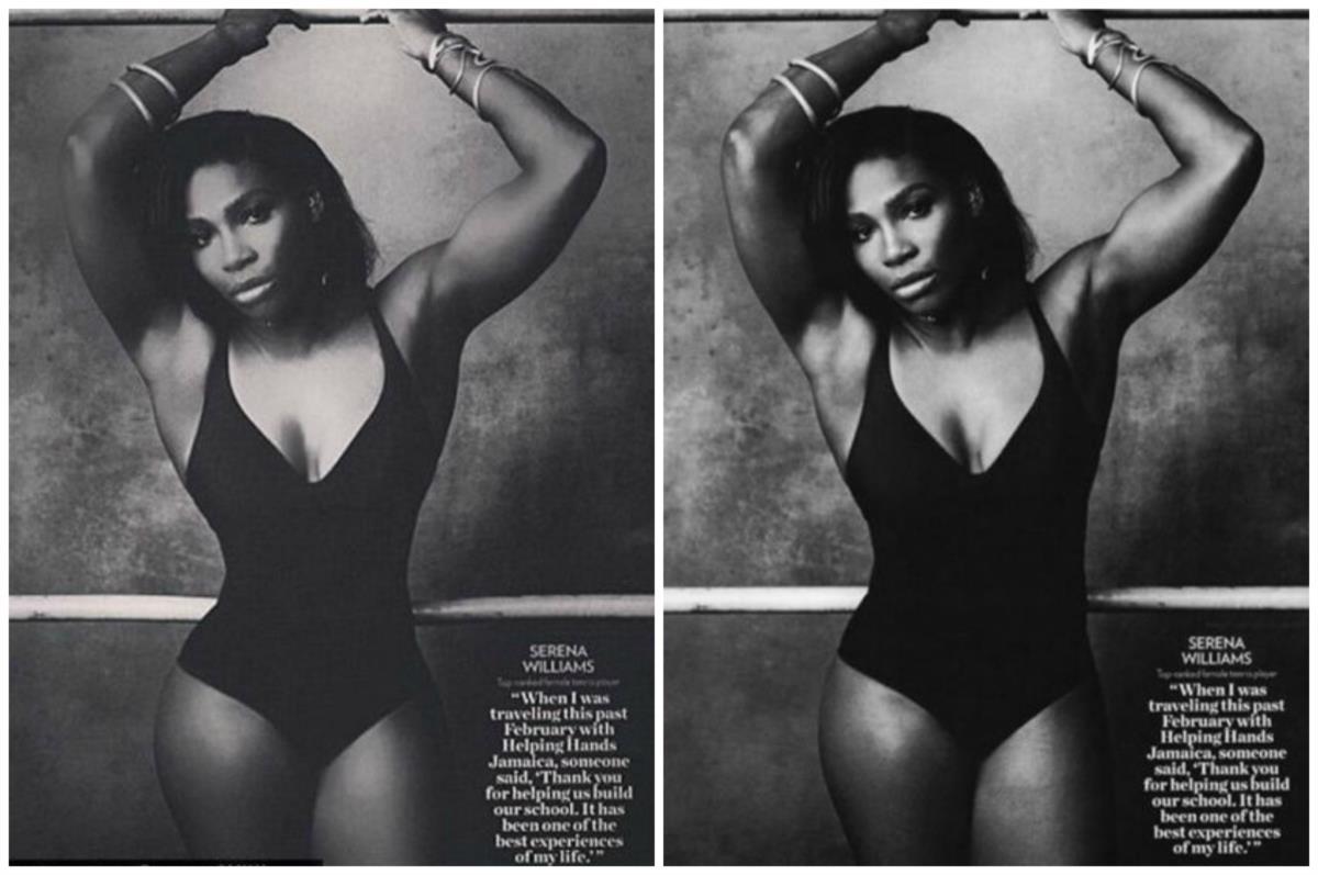 À esquerda a fotografia que foi alvo de críticas e à direita a segunda imagem publicada por Serena Williams