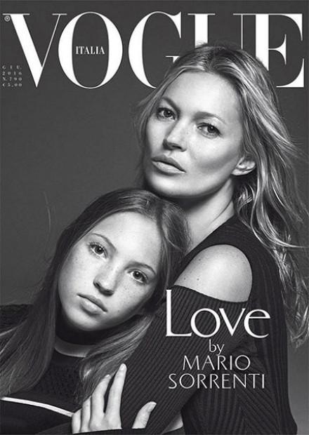 Kate Moss e a filha fazem a capa da Vogue Italia