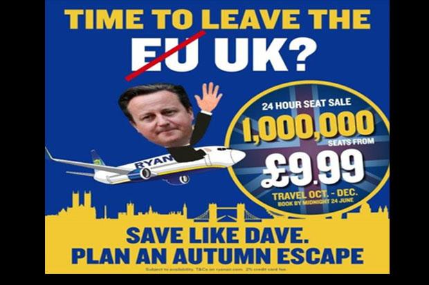 Cameron a voar.