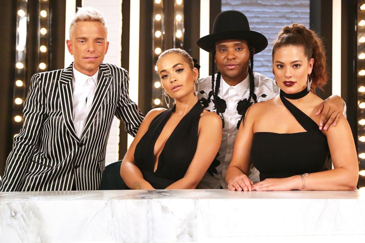 O novo painel de jurados, da esquerda para a direita: Drew Elliot, Rita Ora, Law Roach e Ashley Graham