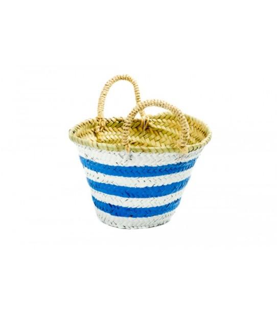 Cesta Twenty Violets com riscas brancas e azuis (34,00€ no site da marca).