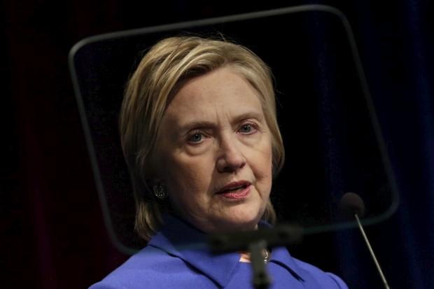 Hillary Clinton na noite de quarta-feira, em Washington, na sua primeira aparição pública depois da derrota há uma semana