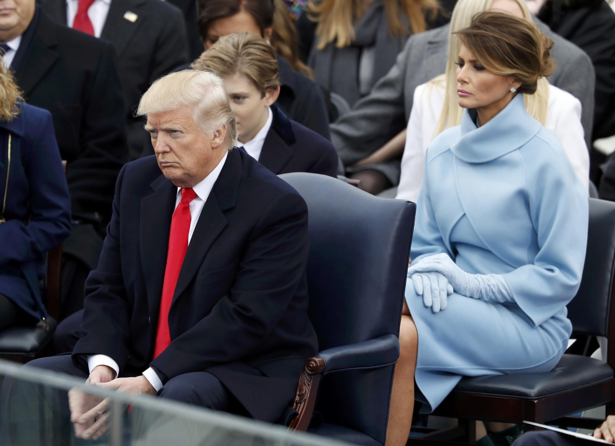 Donald Trump, a mulher e o filho de ambos