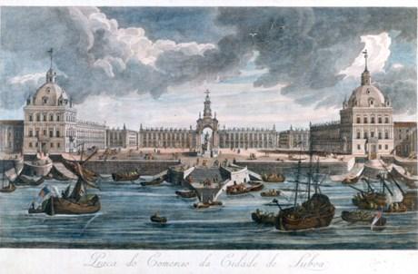 Praça do Comércio segundo o projecto original de Eugénio dos Santos e Carlos Mardel (século XVIII); gravura atribuída a Gaspar Frois Machado