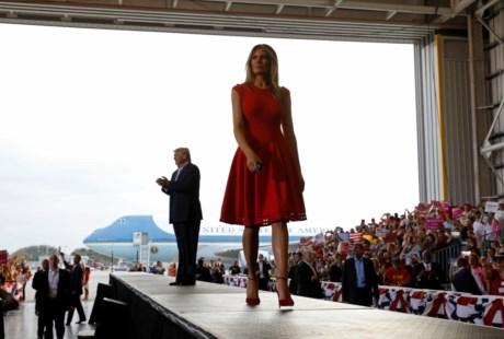 O casal presidencial durante o comício deste fim-de-semana
