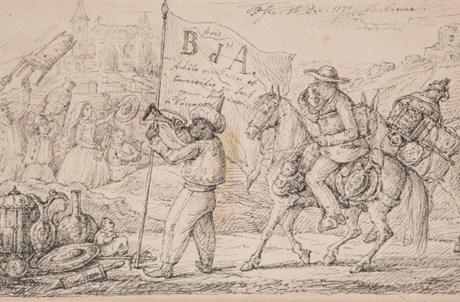 Auto-representação caricatural de D. Fernando II como negociante de antiguidades