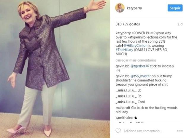 Hillary Clinton usou os sapatos que Katy Perry baptizou, em sua homenagem,
