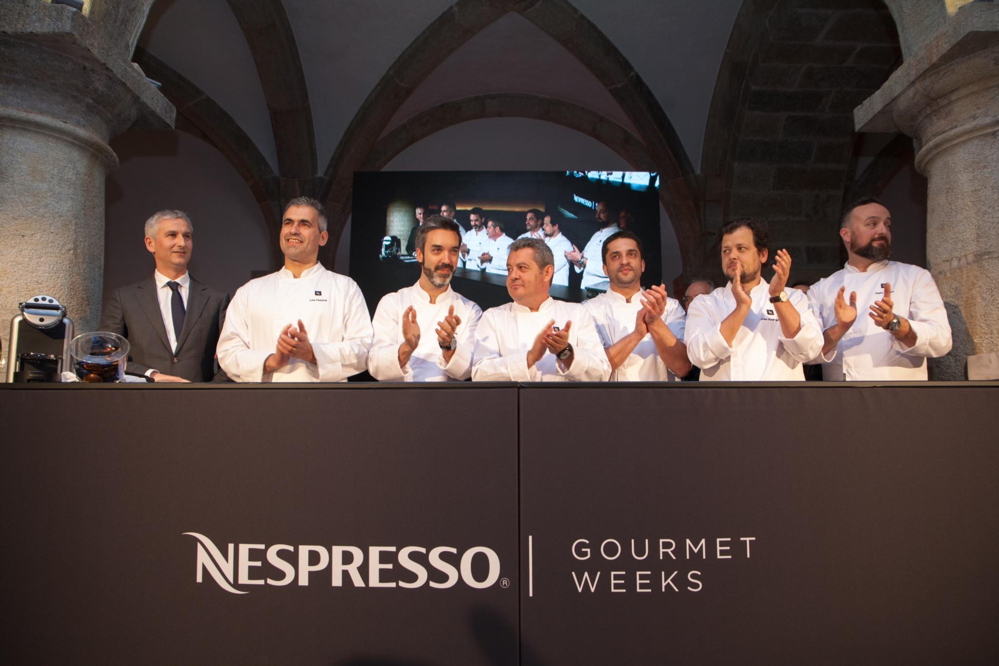 Os chefs convidados no evento de lançamento da Nespresso Gourmet Weeks