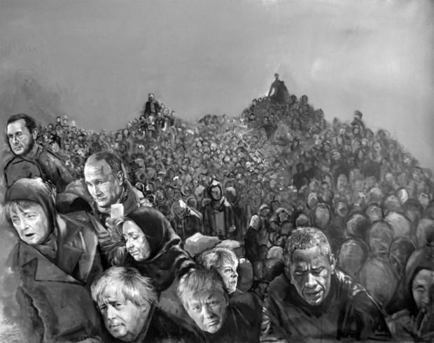 A obra surge como resposta à crise migratória europeia