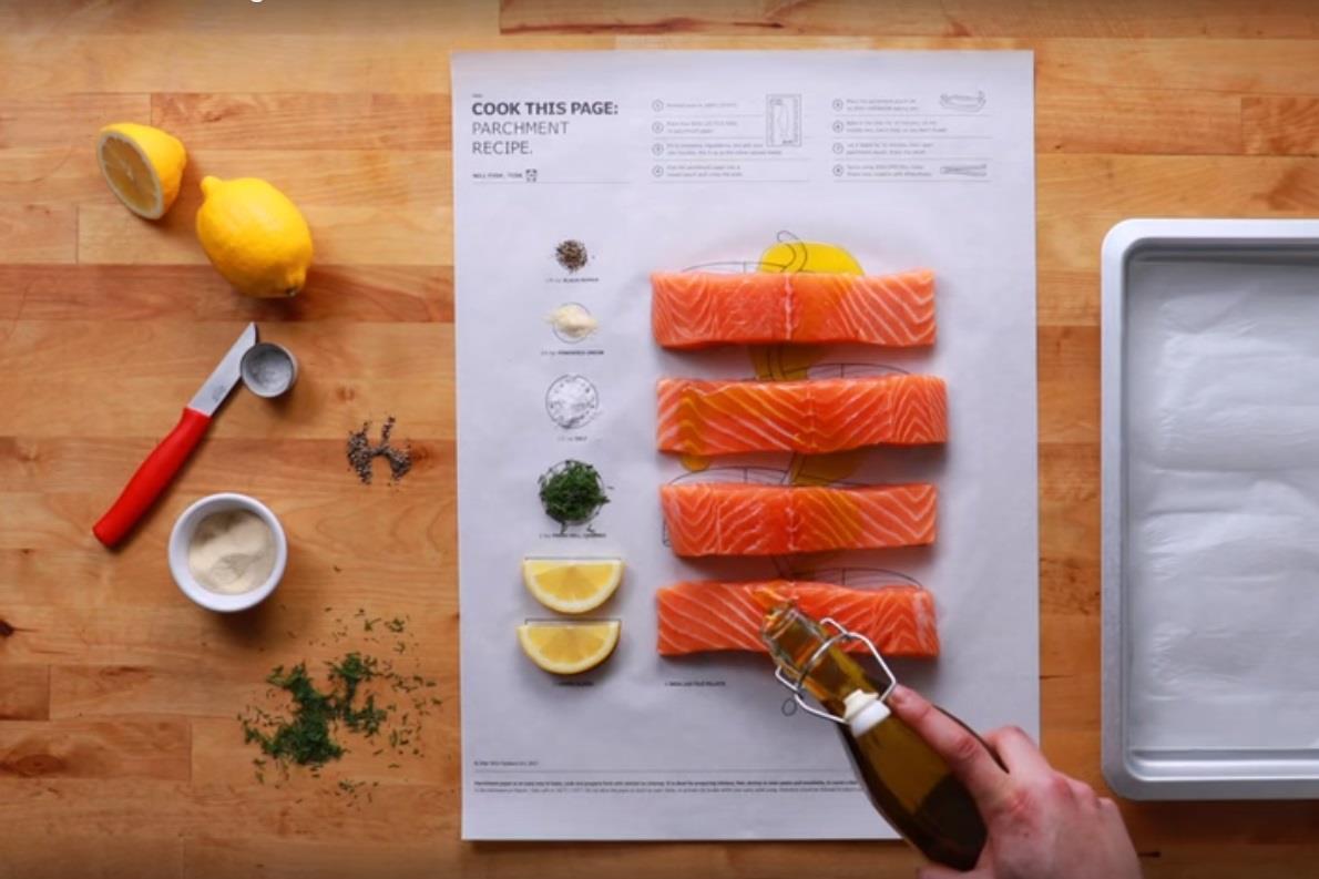 Uma folha de instruções de cozinha estilo Ikea