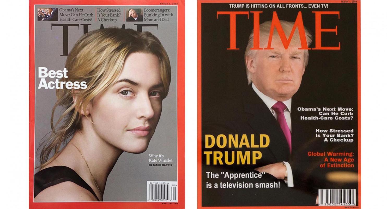 A capa verdadeira de 2 de Março de 2009 à esquerda e a falsa, à direita, com a foto de Trump e dois títulos inventados