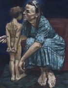 A Fada Azul e Pinóquio, uma das obras expostas, mostra bem a predilecção da pintora pelo mundo da fantasia