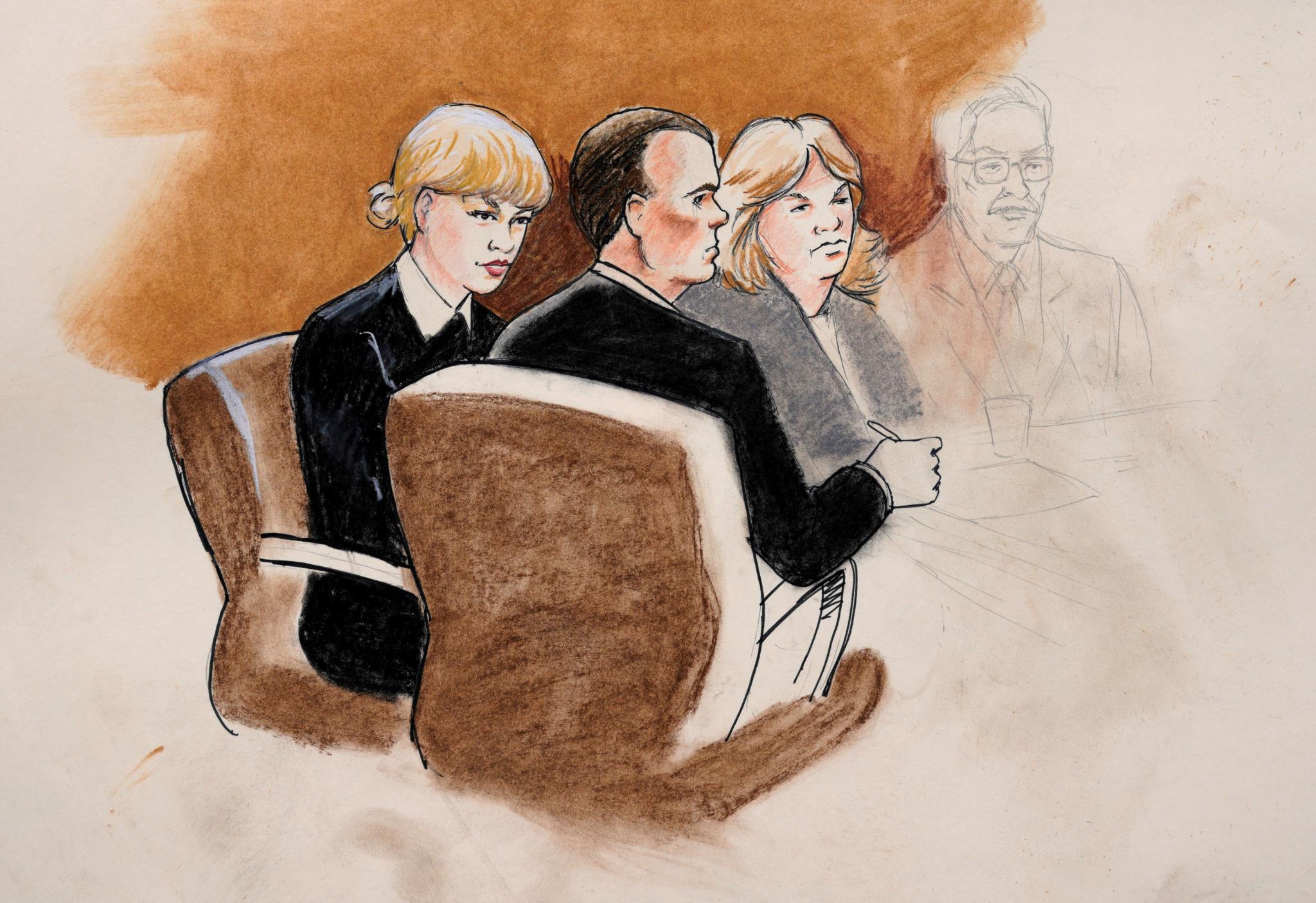 Desenho de Taylor Swift e dos seus advogados no Tribunal, em Denver