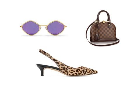 Óculos pequenos, malas em miniatura e sapatos de salto médio