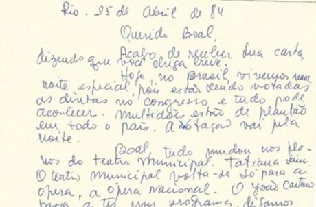Carta de Fernanda Montenegro para Augusto Boal (pormenor)