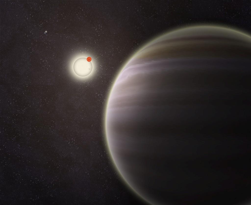 Em primeiro plano, o planeta PH1 em órbita de dois sóis e, ao longe, o segundo par de estrelas