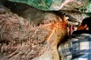O esqueleto da criança do Lapedo ainda na sua sepultura, durante a escavação