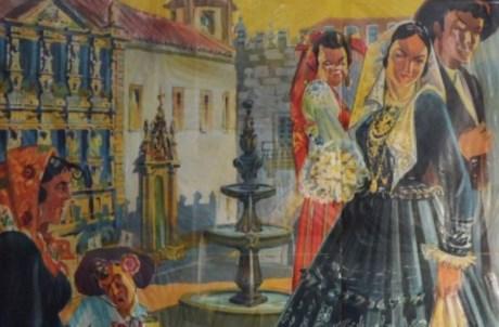 Detalhe do cartaz da Romaria de Nossa Senhora d'Agonia, 1952