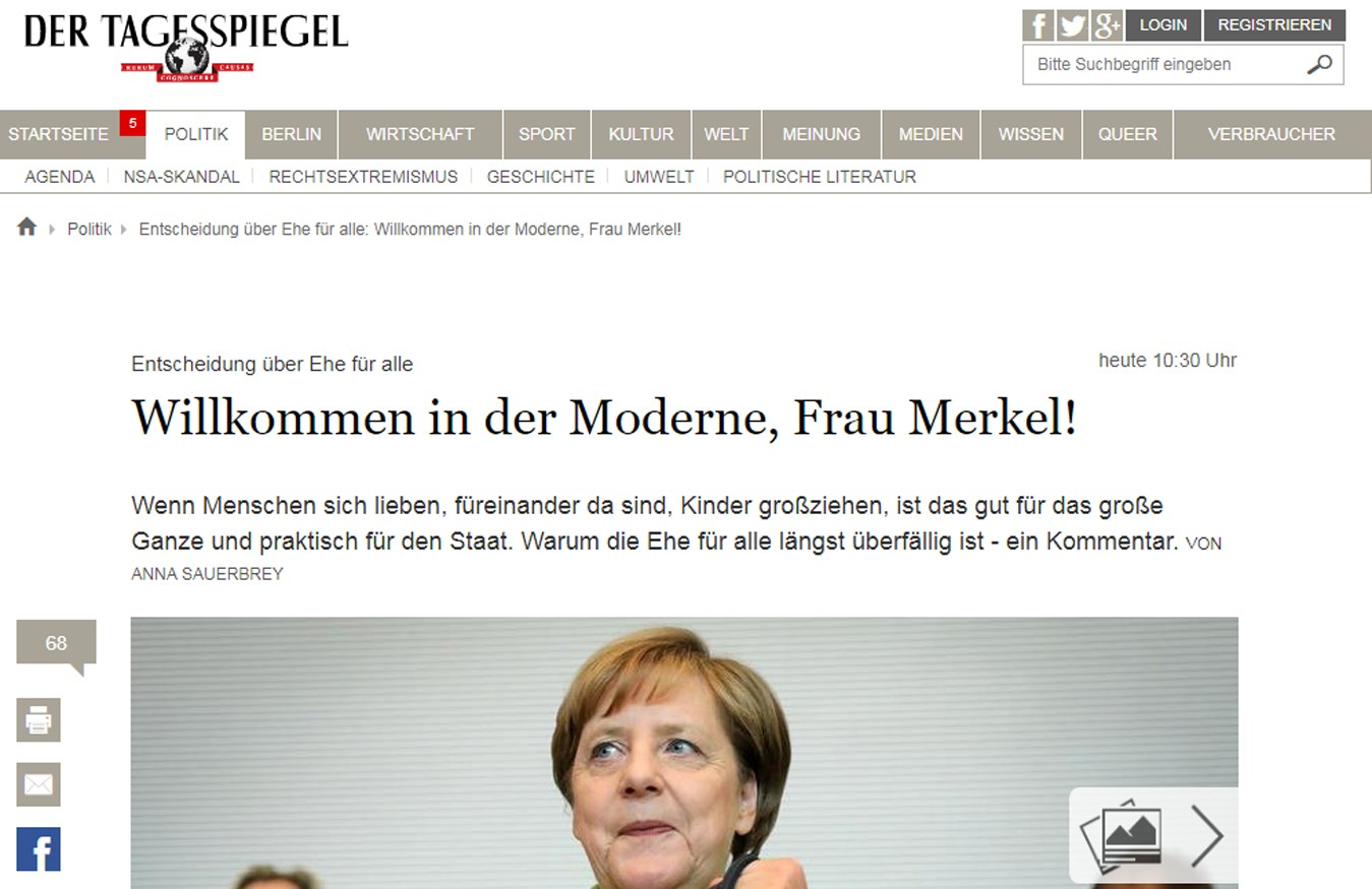 """""""Bem-vinda à modernidade, senhora Merkel!"""""""