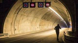 O túnel esteve algum tempo fechado depois do incêndio no autocarro