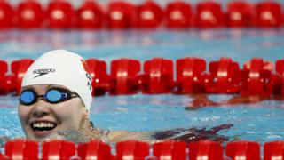 Fu Yuanhui fotografada em 2015 no Campeonato do Mundo de Kazan, na Rússia Stefan Wermuth/Reuters