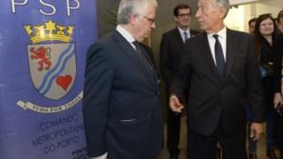O Presidente da República e o ministro da Administração Interna, Eduardo Cabrita