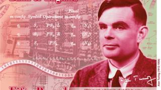 O desenho da nota, apresentado pelo Banco de Inglaterra