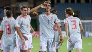 Ferrán Torres fez os dois golos da Espanha contra Portugal