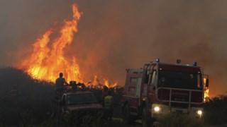 Bombeiros e populares combatem as chamas numa frente de fogo do incendio em Vila Cã, Pombal, 6 outubro 2017.