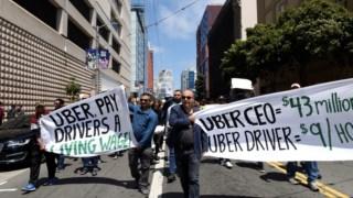 Uma manifestação de motoristas da Uber, em São Francisco, em Maio