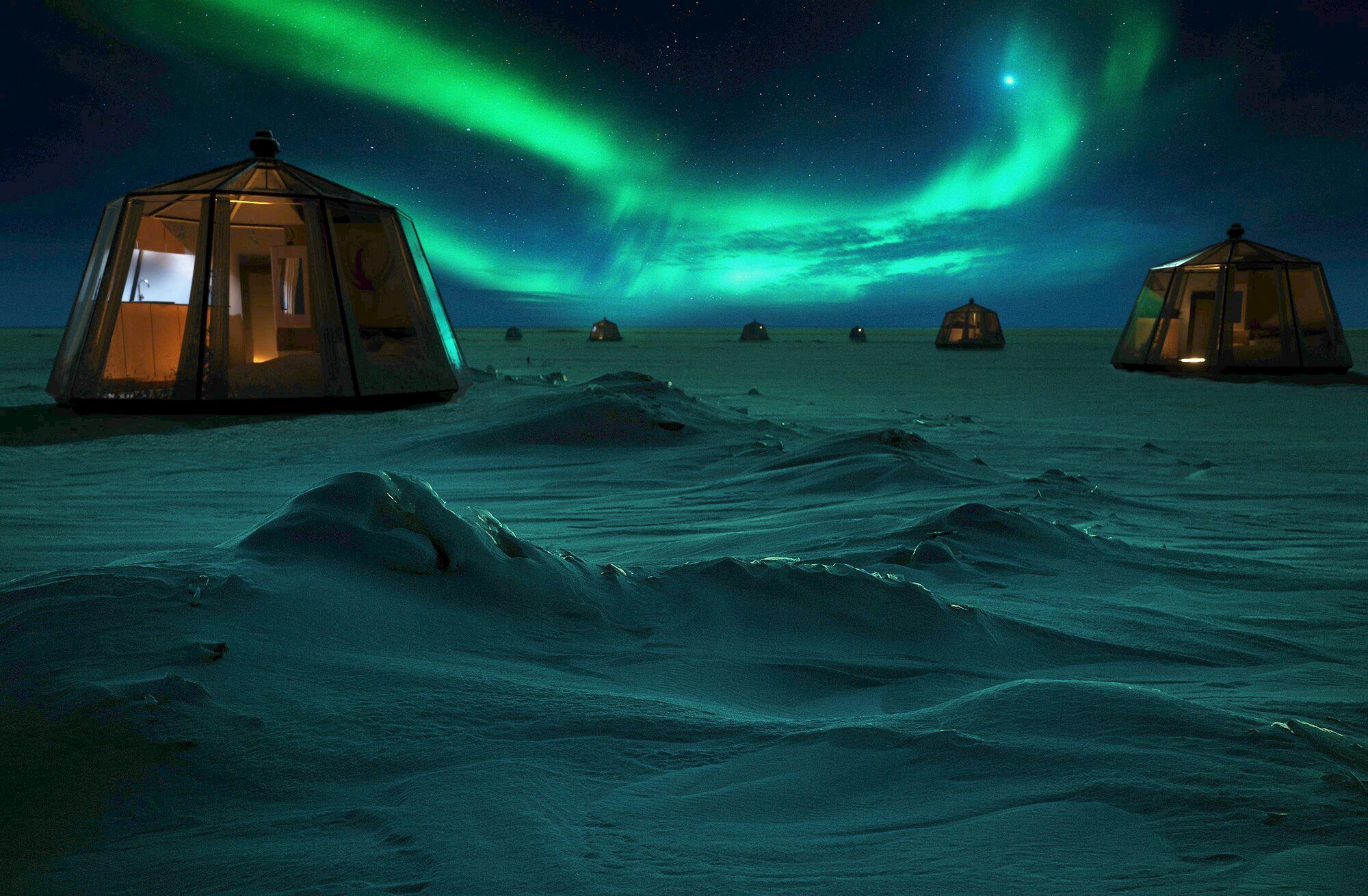 [ASTRONOMIA]   este hotel no Pólo Norte será um luxo iluminado pelas auroras boreais