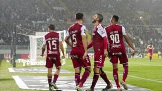 Jogadores do Braga festejam em Guimarães